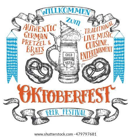 Oktoberfest hand drawn set. Willkommen zum Oktoberfest. Hand lettering set of beer festival. German ceramic beer stein with a pretzels and vintage banners isolated on white