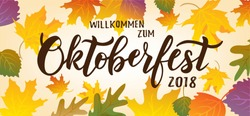 Oktoberfest hand lettering text on textured background. Typography for greeting card, invitation, banner, postcard, poster template. German translation: Welcome to Octoberfest 2018. Vector