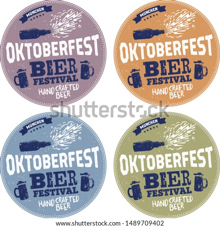 Oktoberfest handwritten typography header for signboard, greeting card, poster and coaster. Beer festival celebrated in October in Germany. Big folk festivities in Bavaria.