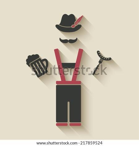 Oktoberfest man with beer mug and sausage - vector illustration. eps 10