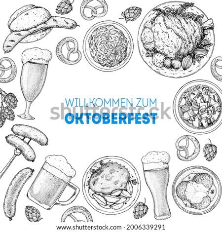 Oktoberfest menu design template. German food sketch. Hand drawn vector illustration. German cuisine. Black and white. Engraved style. Hand drawn food, sketch illustration Foto stock ©