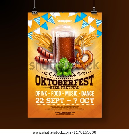 Oktoberfest party poster illustration with fresh dark beer, pretzel, sausage and blue and white party flag on shiny yellow background. Vector celebration flyer template for traditional German beer Photo stock ©