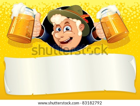 Oktoberfest Poster with smiling Brewer, ready for your text or design, vector template.