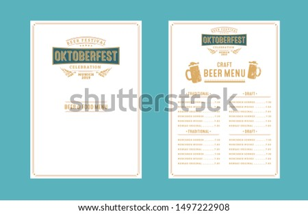 Oktoberfest pub menu. Handwritten typography header for drink list, greeting cards, poster. The beer festival celebrated in October in Germany. Folk festivities in  Bavaria.