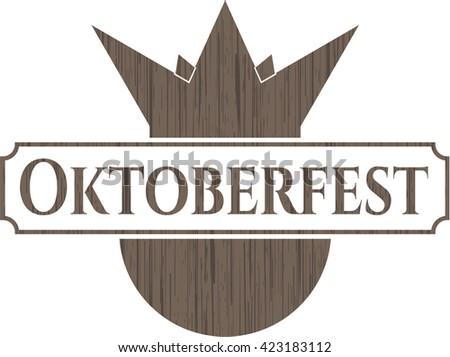 Oktoberfest retro style wooden emblem
