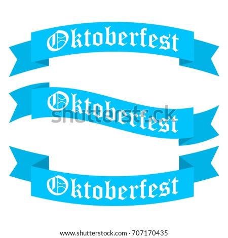 Oktoberfest ribbon banners in bavarian colors vector set. Bavaria festival white and blue Oktoberfest ribbon.