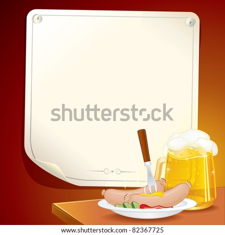 Oktoberfest Scene, dish with traditional bavarian sausages and mug of wheat beer, illustration include poster on wall for your text or design
