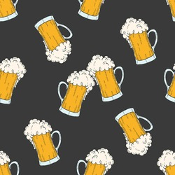 Oktoberfest seamless pattern with colored icons glasses of beer in sketch style. Design for menu, advertising and banners.for wallpaper, textures.
