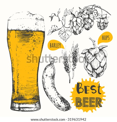 Oktoberfest set. Vector illustration of beer and sausages. Raw material for brewing: branch of hops and ears of barley. Pub menu.