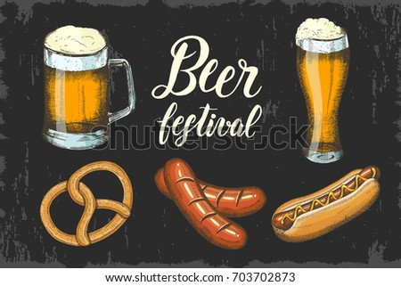 oktoberfest set with hand drawn