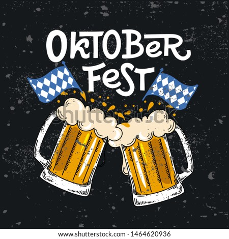 Oktoberfest. Vector flat illustration for German beer festival in Munich. Chalk Lettering with picture of beer mug with foam and Bavarian flag. Clink glasses- Prost! Cracks can be removed Zdjęcia stock ©