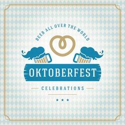 Oktoberfest vintage poster or greeting card and textured background. Beer festival celebration. Vector illustration.