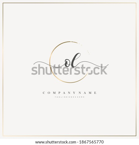 OL Initial Letter handwriting logo hand drawn template vector, logo for beauty, cosmetics, wedding, fashion and business Foto stock ©