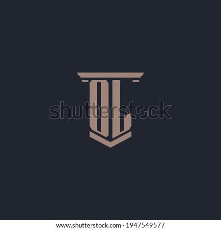 OL initial monogram logo with pillar style design Foto stock ©