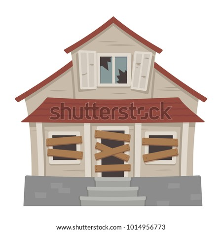 old abandoned house cartoon