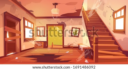 Old abandoned house with mess and broken furniture at daytime. Vector cartoon interior of empty home hallway with dirty walls, boarded up door, garbage, broken wooden staircase and crack in floor