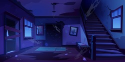 Old abandoned house with mess and broken furniture at night. Vector cartoon interior of empty home hallway with dirty walls, boarded up door, garbage, broken wooden staircase and crack in floor