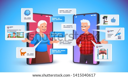 Old aged family couple man & woman communication using smart phone video call. Elderly people talking, chatting, messaging, gossiping on social network topics. Flat vector character illustration