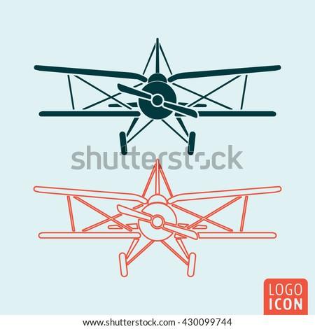 old airplane icon retro