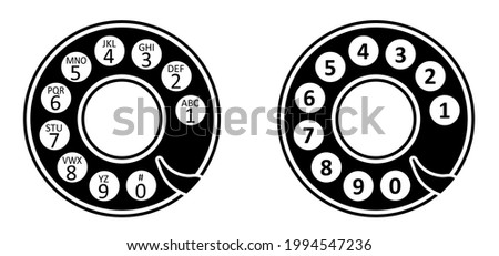 Old alphanumeric phone numbers. Telephone numbers, disk against. Flat vector. Rotary phone dial isolated. Disc dials of old retro phone, switchboard. call, turn disc phone. Rotary dial, pulse dialing. Сток-фото ©