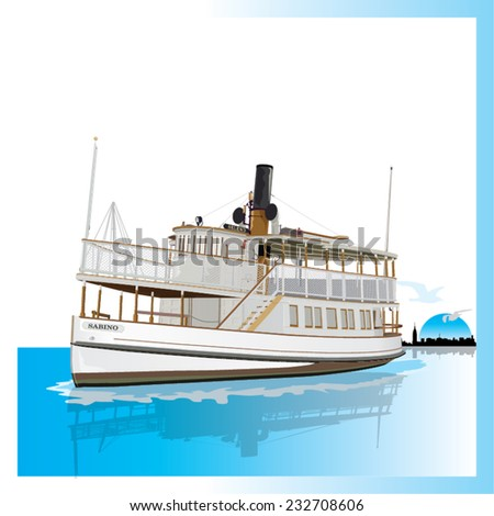 old american ferry isolated