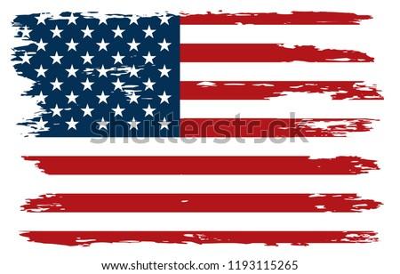 Old American Flag.Vector grunge USA flag. #1193115265