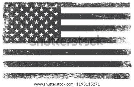 Old American Flag.Vector grunge USA flag. #1193115271