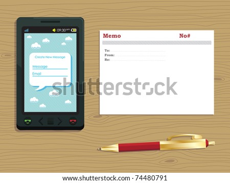 old and new technology, generic smart phone, memo card and pen