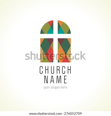 Old arc window vector logo. Christian church cross colorful icon. Religious or vintage symbol. Stained-glass window from pieces. Crucifix in stained puzzles, architectural mosaic pattern.