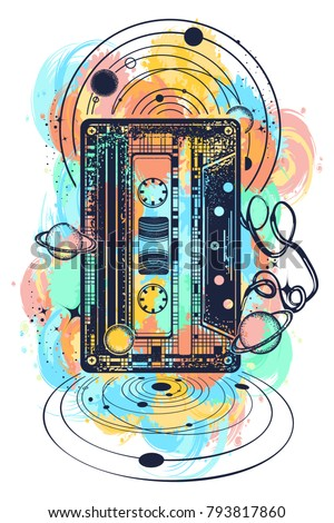 Old audio cassette and music notes, symbol of pop music, disco