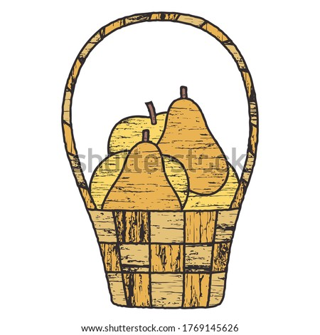 old basket with pears and apples