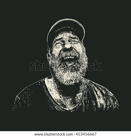 old bearded man with headphones