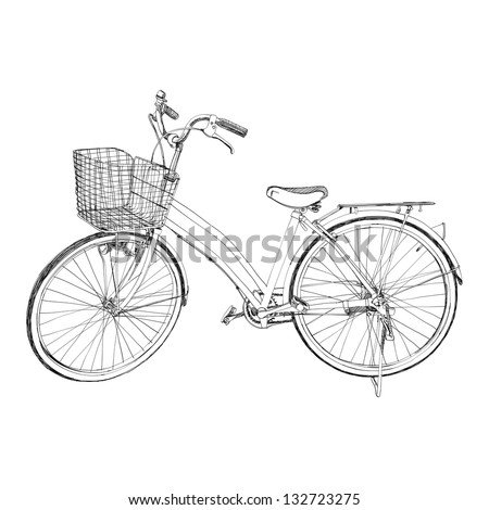 Old bicycle - sketch illustration hand drawn