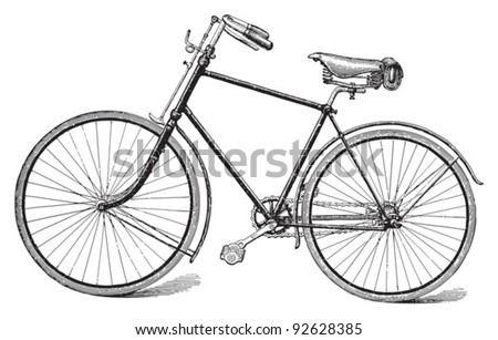 Old bicycle / vintage illustration from Meyers Konversations-Lexikon 1897