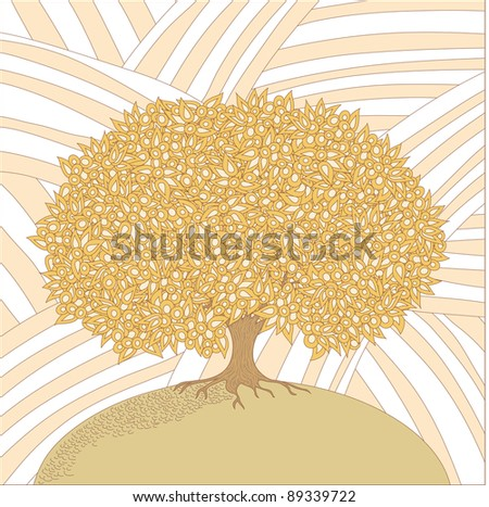 Old big isolated tree in a sketch appearance on a striped background