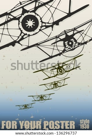 Old biplanes flying in the clouds, retro aviation background. Vector poster