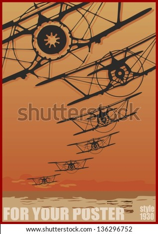Old biplanes flying over evening sea, retro aviation background. Vector poster