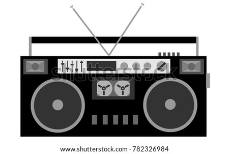 Old, black and white, cassette retro audio stereo recorder of the 80s on a white background.