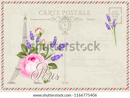 Old blank postcard with post stamps and eiffel tower with lavender flowers on the top. Vector illustrtion.
