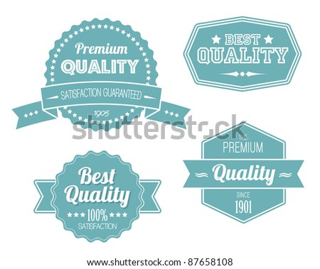 Old blue retro vintage labels - premium quality