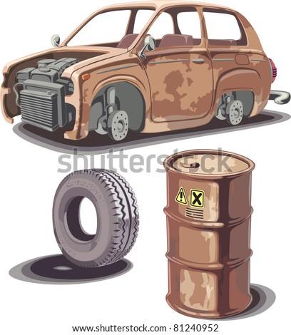 old broken rusty car  rusty oil