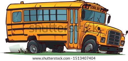 old broken school bus cartoon