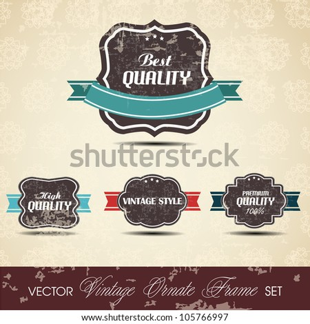 Old brown color retro vintage grunge labels background with ribbon and text Quality. EPS 10. Can be use as banner, label, tag or sticker.