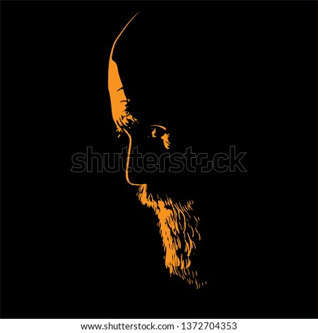 Old Brutal Man with beard. Portrait silhouette in backlight. Vector. Illustration.