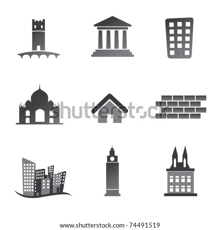 Old building icon set