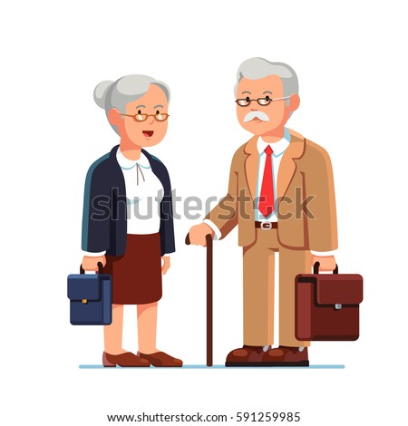 Old business man and woman standing together with their suitcases. Two aged grey haired office workers. Elderly people being retired. Flat style modern vector illustration isolated on white background