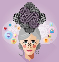Old business woman head with thinking progress Innovative concept