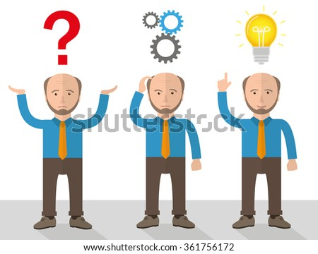 Old, businessman cartoon during a planning concept. Eps 10 vector file.
