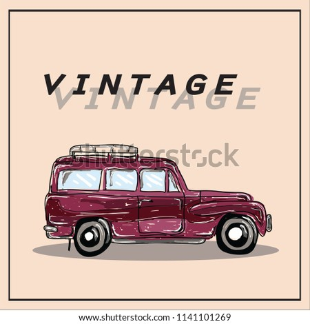 old car vector drawn illustration #1141101269
