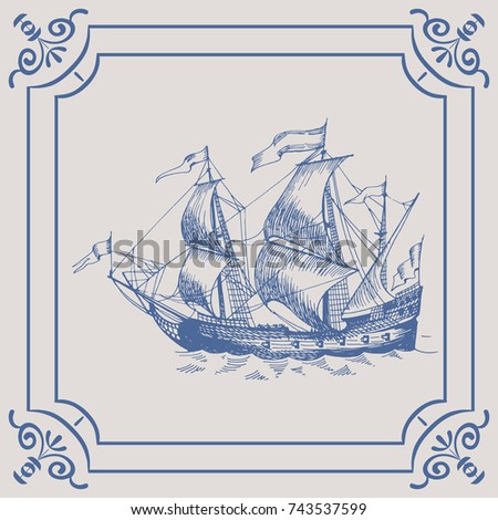 old caravel. ship on the blue...